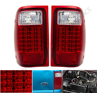 For 1993 1999 Ford Ranger Truck Red Led Tail Lights Lamps Driving Embly Set