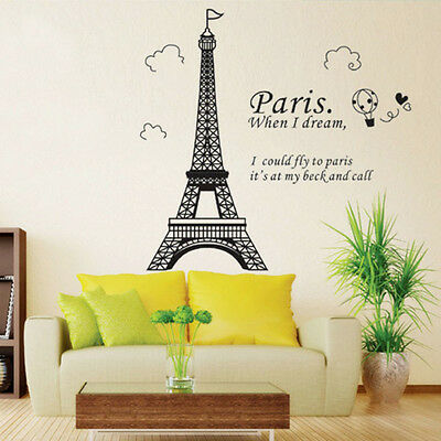 Removable Paris Eiffel Tower Wall Sticker Home Bedroom Art Decor Mural DIY