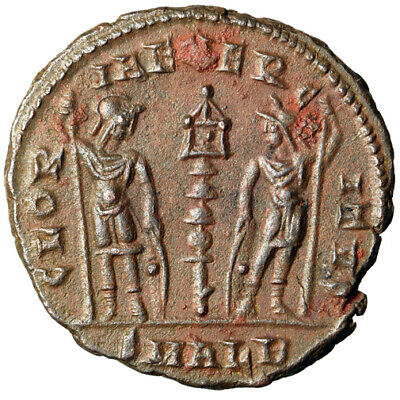 """RARE & HIGH QUALITY Roman Coin of Constans I Caesar """"Soldiers"""" Alexandria EF"""