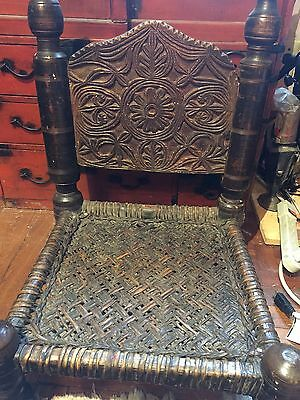 Antique Vintage Hand carved Wood Turkish Chair