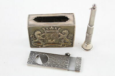3 Vintage .925 STERLING SILVER Silverware Inc. Cigar Cutter, Matchbox Holder 61g