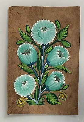 Vintage Traditional Mexican Oil Painting on Amate Tree Bark - Original Folk Art