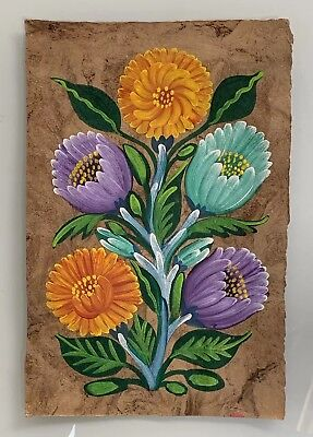 Vintage Traditional Mexican Oil Painting on Amate Tree Bark - Original Art