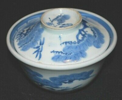121-0134, Antique Japanese Rice Bowl with lid, Chawan, Sometsuke, Japonais