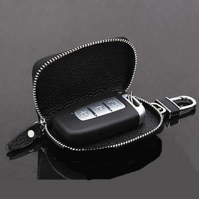 Unisex Key Bag Leather Car Chain Ring Holder Solid Small Wallet Zipper Case LE