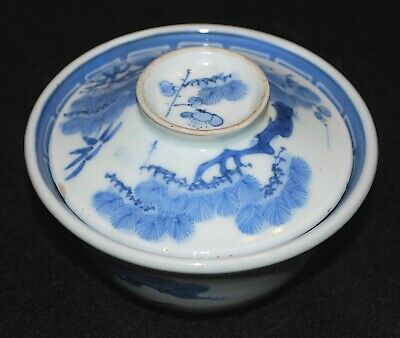 121-0135, Antique Japanese Rice Bowl with lid, Chawan, Sometsuke, Japonais