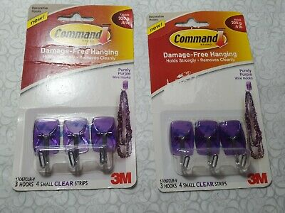 2x 3M Command Designer Wire Wall Hooks, Pack of 3 - Clear Purple