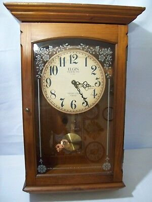 Antique Style Elgin Large Quartz Wood Pendulun Westminster Chime Wall Clock