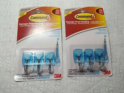 2x 3M Command Designer Wire Wall Hooks, Pack of 3 - Clear Blue
