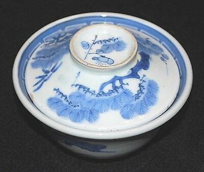 121-0137, Antique Japanese Rice Bowl with lid, Chawan, Sometsuke, Japonais