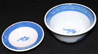 121-0138, Antique Japanese Rice Bowl with lid, Chawan, Sometsuke, Japonais