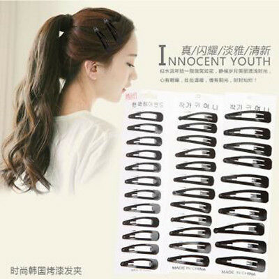 Black Clips Mini Solid Color Baby Snap Barrettes Women Metal Tiny Hair Pins LE