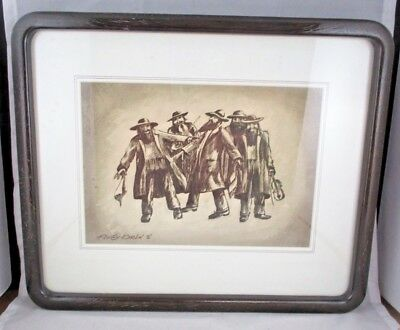 IRVING KARLIN Judaica Jewish Etching Male Musicians Signed Framed 1972