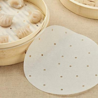 Kitchen Perforated Round Bamboo Steamer Dim Sum Paper Liners Steam Mat Pad LE