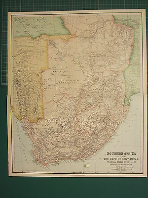 1902 Large Antique Map ~ Southern Africa The Cape Colony ~ Natal Transvaal