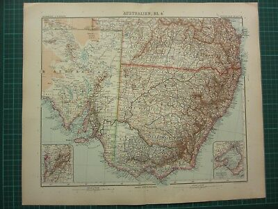 1907 Dated Map ~ South East Australia ~ Inset Melbourne Port Philip Adelaide