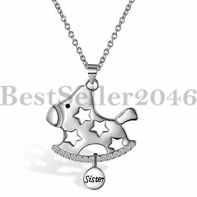 925 Sterling Silver Pentagram Carousel Sister Pendant Womens Girls Necklace