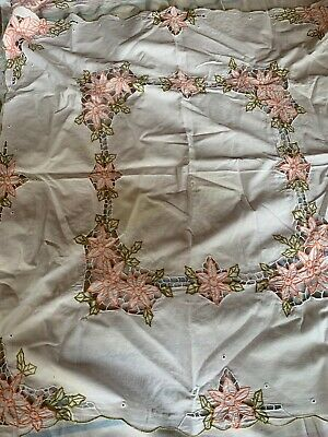 Two vintage embroidered edge tablecloth  handwork 84 X 78 Cm.