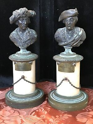 LATE 18th EARLY 19 TH CENTURY BRONZE BUST OF GEORGE WASHINGTON AND JEAN BART