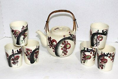 Very Old Vintage Hand Painted Japanese Teapot and Sake Cups Made in Japan