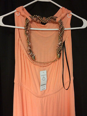 """BEBE"" Women's Coral Stella Embellished Maxi Dress Size S - New"
