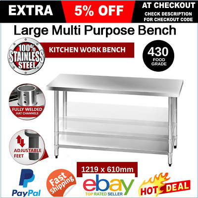 430 Stainless Steel Bench Table Commercial Home Kitchen Work Food Grade Prep NEW