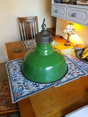 Green Enamel Industrial hanging Light By Wardle