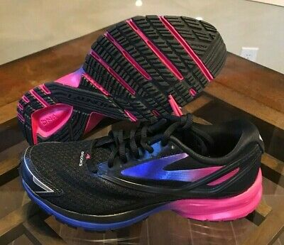 5d0c6e13b09  100 Women s Brooks Launch 4 Neutral Road Running Shoes Black Pink Blue  Size 6.5