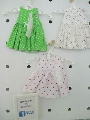 Dress & HB suitable for Baby Born, 3 Sets Green,Straw,White SPECIAL FREE POST