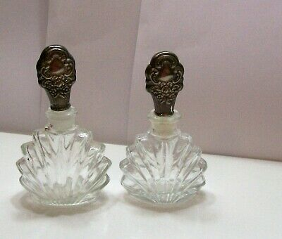 Vintage Empty Decorative Glass Perfume Bottle Set With Silver Plated Stopper Cap