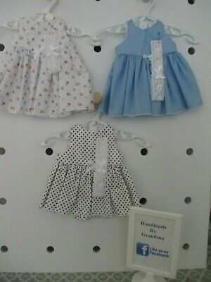 Dress & HB suitable for Baby Born, 3 Sets Blue,W/B White SPECIAL FREE POST