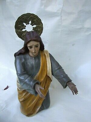 Antique Religious Carved Statue Our Lady Queen of all Saints Virgin Mary 1900's