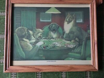 """Vintage C M Coolidge,  Framed """" A Waterloo """" Print - Dogs Playing Poker / Cards"""