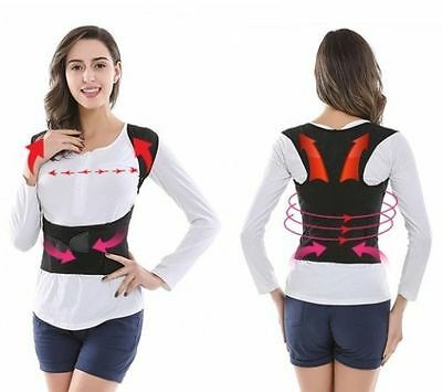 Unisex Adjustable Back Shoulder Corrector Posture Upper Back Support Brace Belt