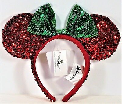 Disney Parks Exclusive Christmas Minnie Mouse Ears Red Sequin Headband RETIRED