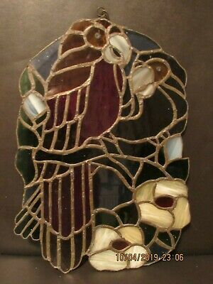 vintage stained glass leaded panel  Parrot