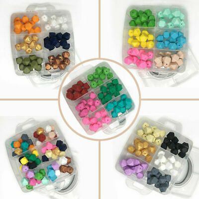 BPA Free Baby Teething Hexagon Silicone Beads Teether Necklace Jewelry Kit Toys