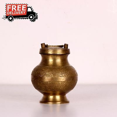 1900S Indian Antique Hand Crafted Embossed Copper Nickel Coated Water Pot 2286