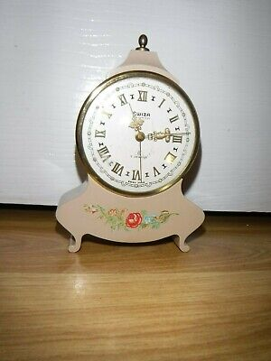 Vintage Swiza Mignon 8 Day 7 Jewels Rare Mantle Clock ~ Excellent Working Con