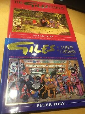 2 x GILES books - Life In Cartoons ,The Giles Family  - By Peter Tory (Hardback)