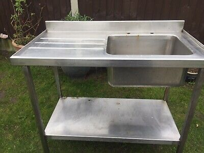 Commercial Stainless Steel Catering Sink Unit Worktop Table