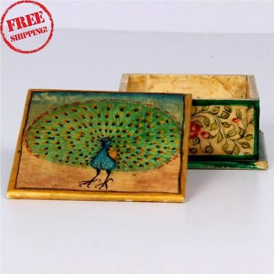 Old Bone Hand Crafted Peacock Flower Design Hand Painted Powder Small Box 1528