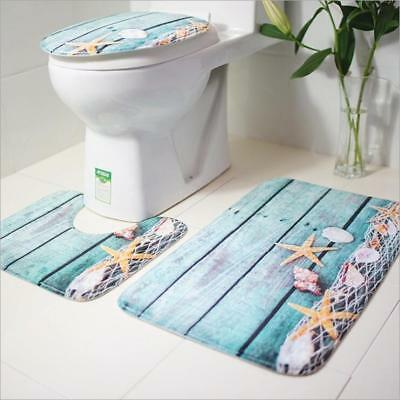 3Pcs Bath Mat Set Non Slip Pedestal Mat Toilet Bathroom Rug Memory Foam  Design