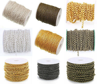 109Yard/Roll Silver Gold Cable Open Link Chain Ball Bead Chain Rolo Bulk Chain