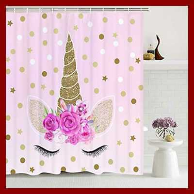 Unicorn Shower Curtains Cute PINK Floral Magic Head Twinkle Star Shower Curtain