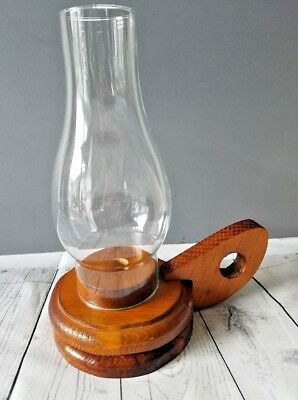 Hurricane Glass Shade / Rustic Wood Candlestick Finger Holder