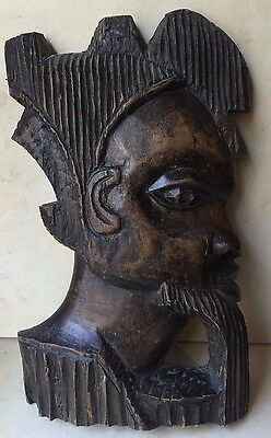 Vintage Collectible Wooden Carving Sculpture Traditional Egyptian Head Art