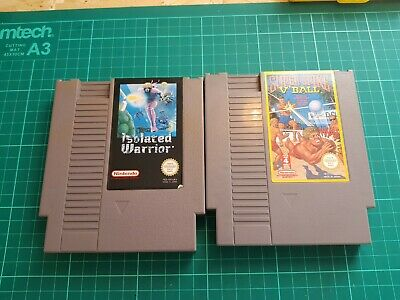 2 game nes cart bundle. isolated warrior and super spike v ball