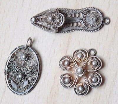 Set Of Three Gorgeous Filigree Silver Russian Women's Stylish Necklace Pendants