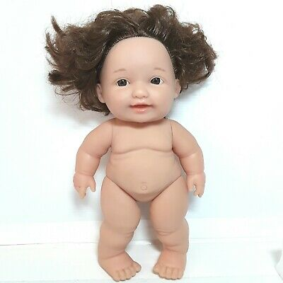 Berenguer baby toddler doll toy Brown Brunette hair Chubby Small